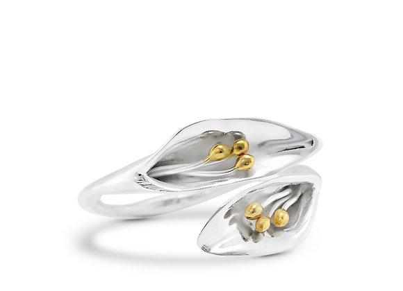 Adjustable Calla Lily Silver Ring