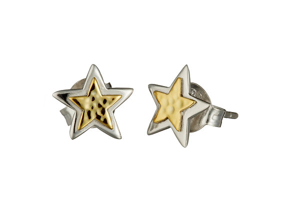Silver and Gold Brass Star Earrings