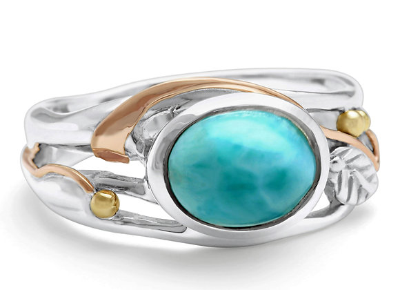 Silver  Ring With Larimar And Gold