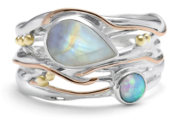 Rainbow Moonstone and Opal Statement Ring with Gold Details