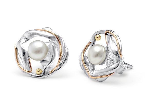 Silver Freshwater Pearl Studs with Gold detailing