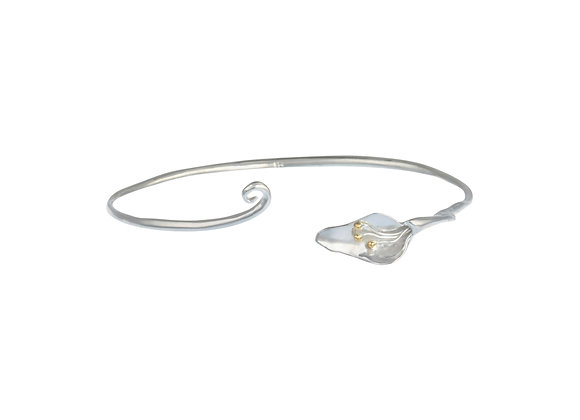 Delicate Lily Bangle with Gold Detailing