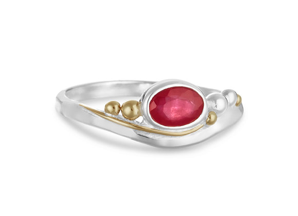 Ruby Ring with Gold Details