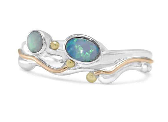 Opalite Ring in Sterling Silver with Gold details