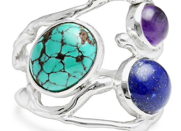 Sterling Silver ring set with Cabochon oval Tibetan Turquoise, round Lapis Lazul