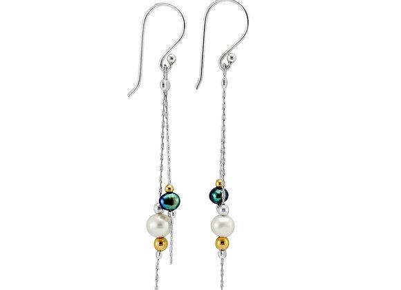 Black & White Freshwater Pearl Drop Earrings