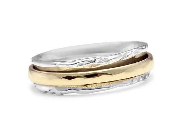 Silver Ring with Revolving Brass Band