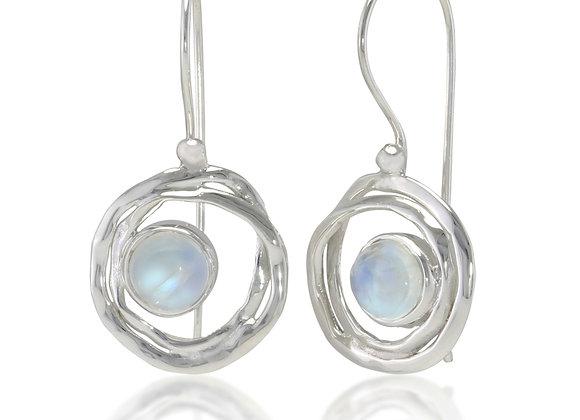 Silver Drop Earrings With Rainbow Moonstone