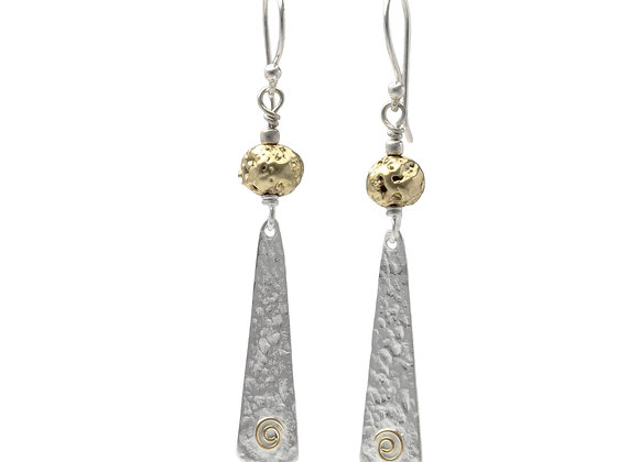 Gold Plated Lava Stone with Textured Silver Slither Drop Earring