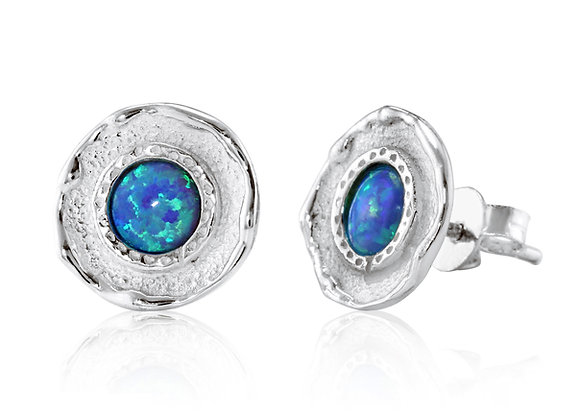 Silver Stud Earrings with Pale Blue Opalite