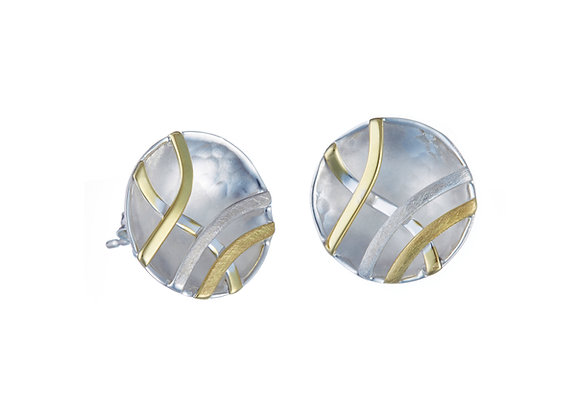 Silver Concave Stud Earrings with Brass Detailing