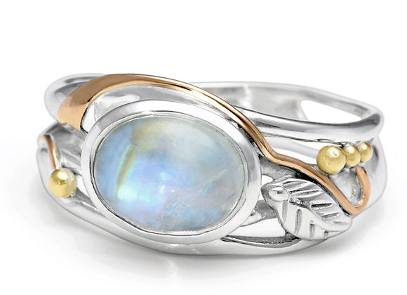 Rainbow Moonstone Ring with Gold Details
