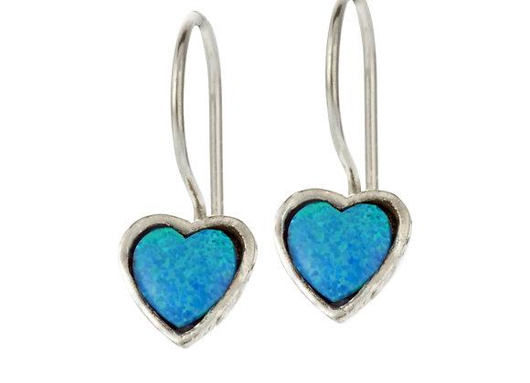 Heart Shaped Blue Opal Earrings Framed with Sterling Silver