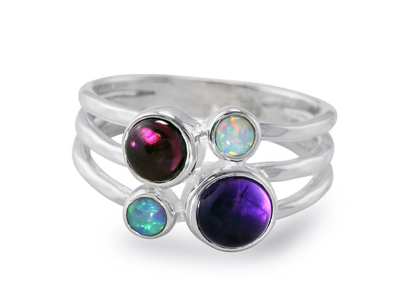 Amethyst, Garnet and Opal Triple Banded Ring