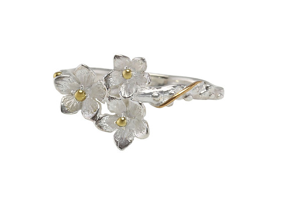 Trio of Flowers Ring in Sterling Silver