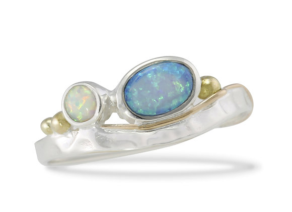 Opal & Silver Ring with Gold Details