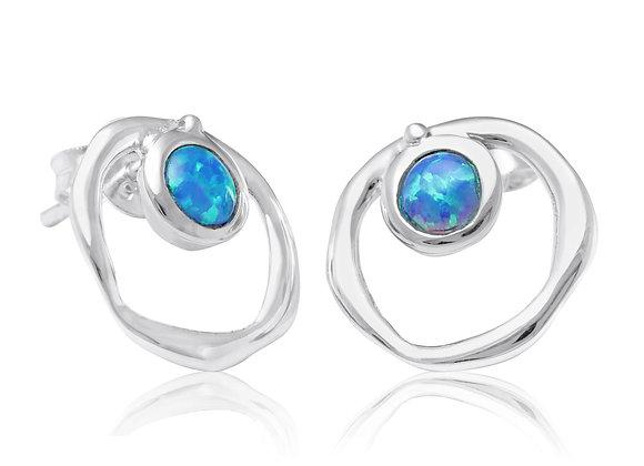 Vibrant Blue Opalite Earrings Studs