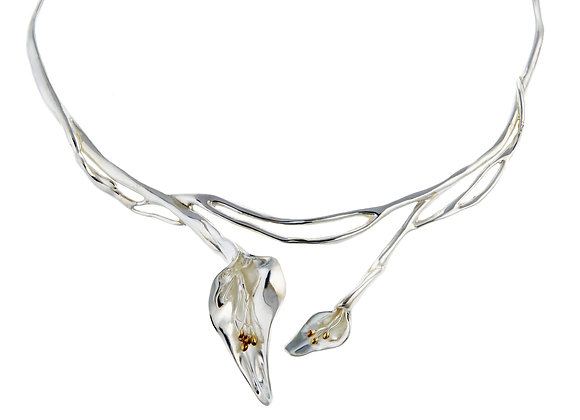 Silver Double Lily Necklace
