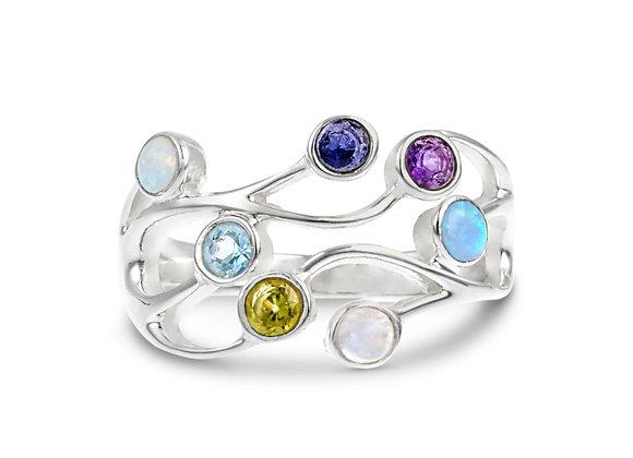 Precious Silver Ring Featuring Cornucopia of Gemstones