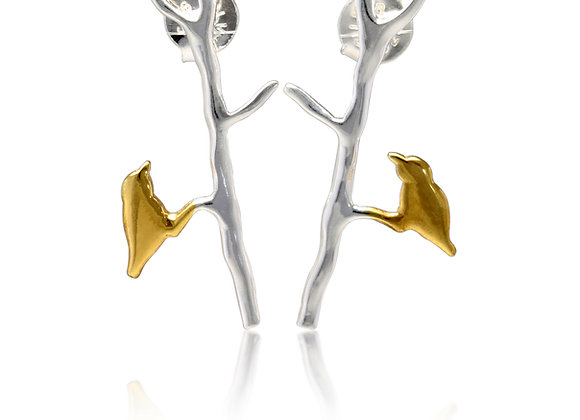 Sterling silver and gold plated twig earrings