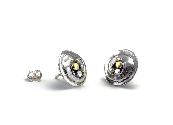 Circular Stud Earring With Swirl and Brass Details
