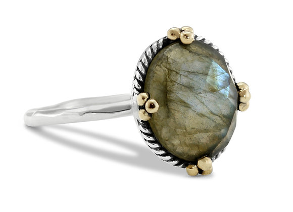 Faceted Labradorite Silver Ring