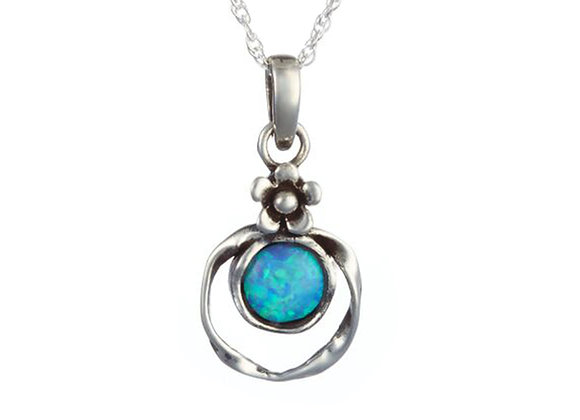 Blue Opal Pendant Framed in Sterling Silver with Flower Detail