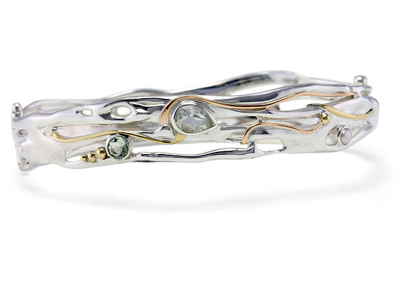 Fluid Green Amethyst and Pearl Bangle