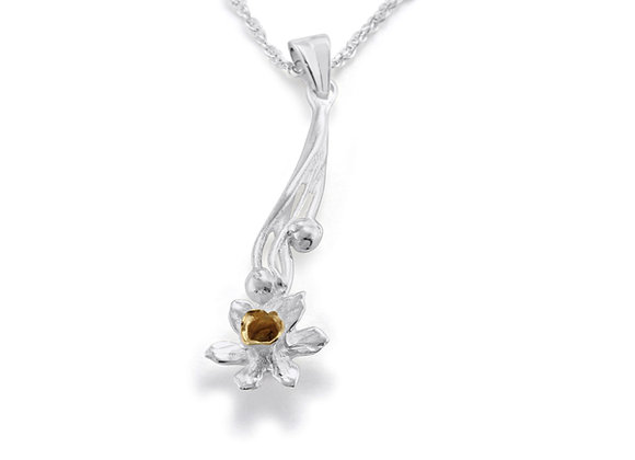 Silver and Gold Plated Daffodil Flower Pendant