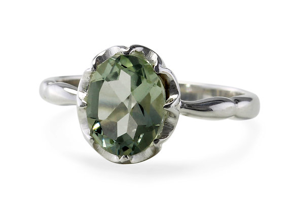 Green Amethyst Solitaire Ring