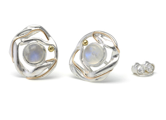 Moonstone stud earrings with gold wire detailing.