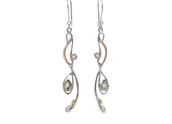 Green Amethyst and Pearl Drop Earrings