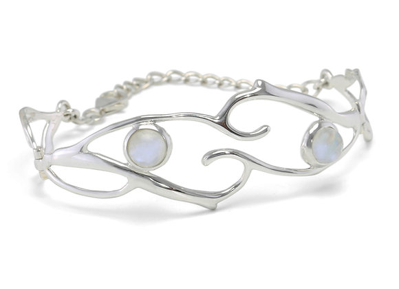 Organic moonstone and sterling silver hinged bangle