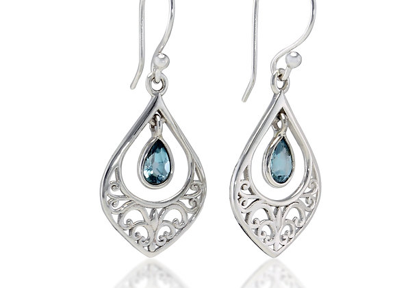 Elegant Silver Drop Filigree Earrings with Blue Topaz