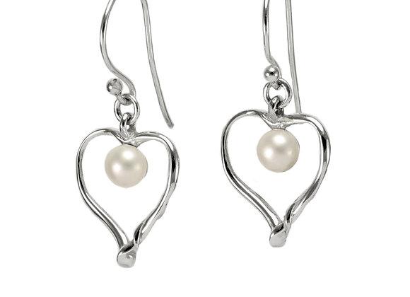 Heart & Pearl Earrings in Sterling Silver