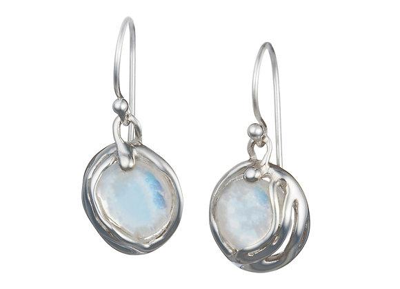 Fiery Moonstone Drop Earrings