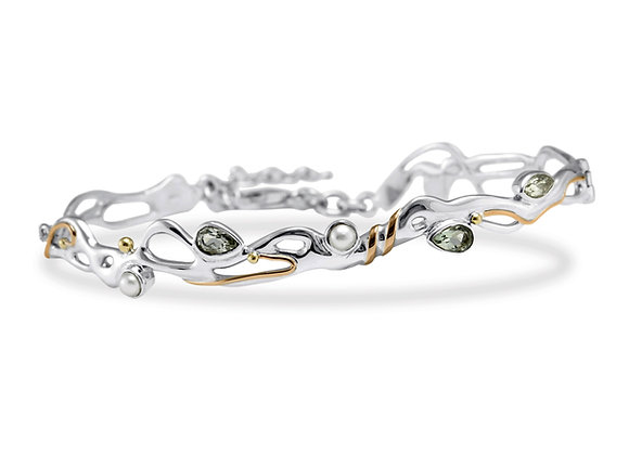 Silver bracelet featuring green amethyst