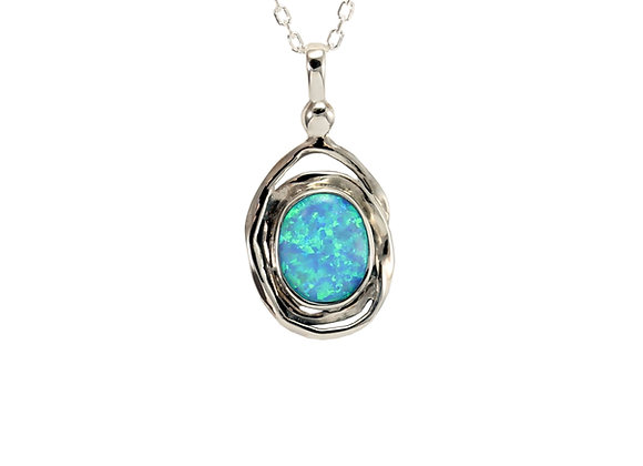 Oval Spiral Silver Pendant with Blue Opal