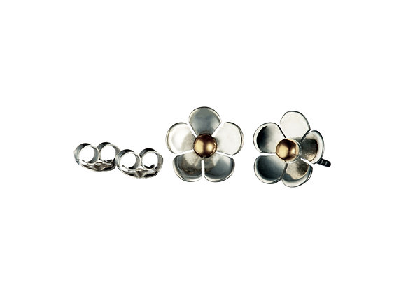 High Polish Silver Flower Stud Earrings With Brass Centre