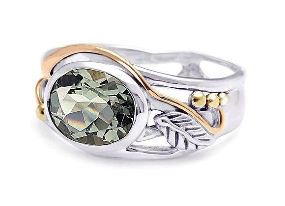 Green Amethyst  Leaf Design Ring