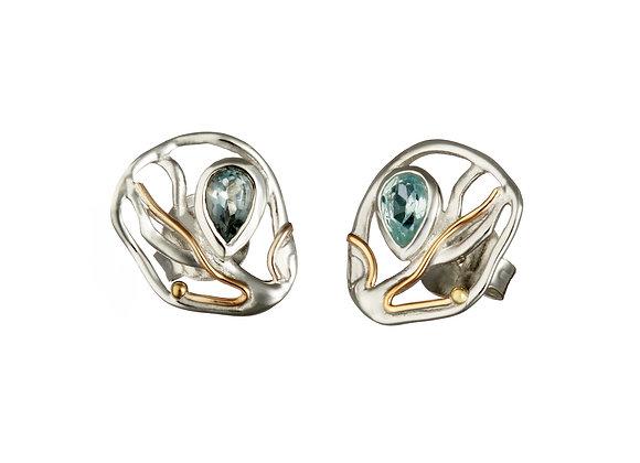 Flowing Blue Topaz Stud Earrings