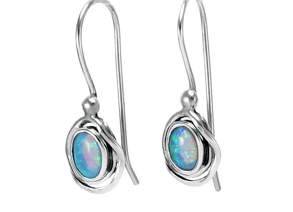 Sterling Silver and Oval Opalite Hook Earrings