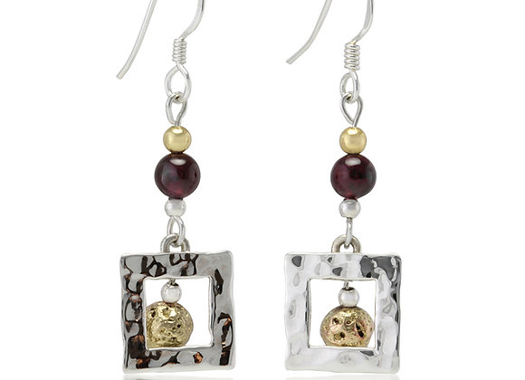 Handmade Sterling Silver Square Earrings with Garnet and Lava Stone