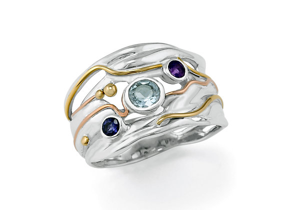 Blue Topaz, Amethyst & Iolite Ring in Sterling Silver with Gold details