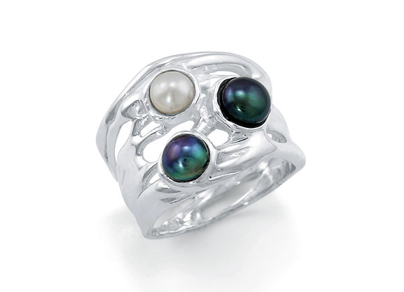 Sterling Silver Ring with a Trio of Glorious Pearl Gemstones