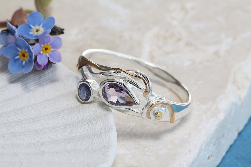 Isla Silver faceted teardrop amethyst and iolite silver ring