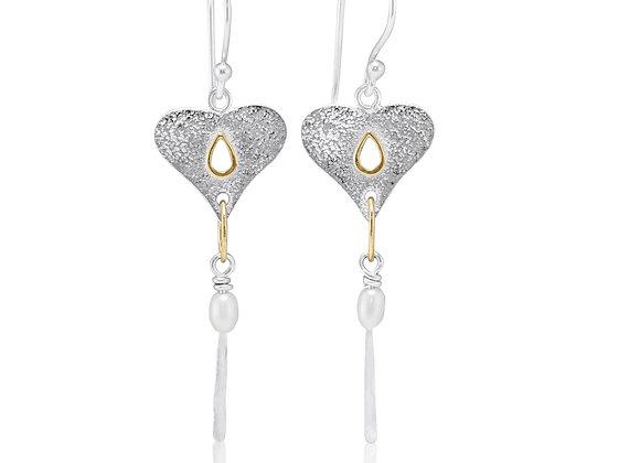 Textured silver heart earrings