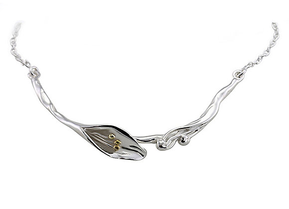 Single Lily Sterling Silver Necklace