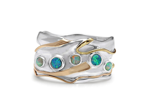 Sterling Silver Quintet of Opalites Ring
