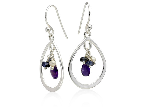 Silver Hoop Earrings with Amethyst, Iolite and Pearl Detailing
